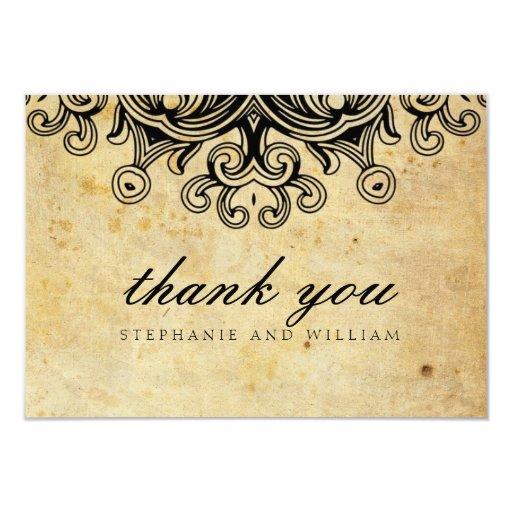 "Vintage Black Wedding Thank You Card 3.5"" X 5"" Invitation Card"