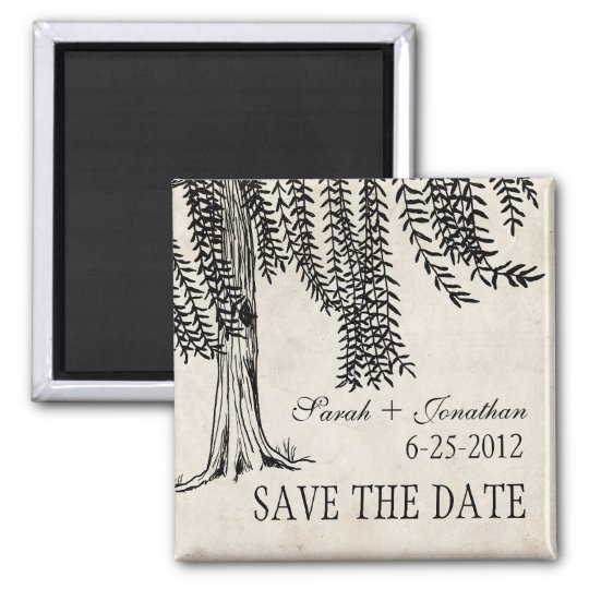 Vintage Black Weeping Willow Save The Date Magnet
