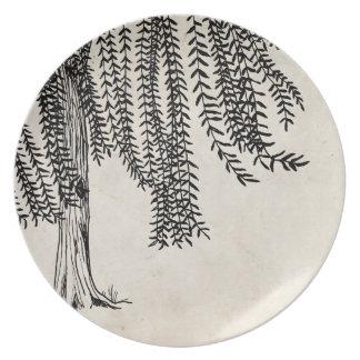 Vintage Black Weeping Willow Tree Dinner Plate
