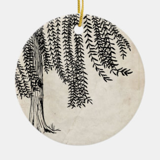 Vintage Black Weeping Willow Tree Double-Sided Ceramic Round Christmas Ornament
