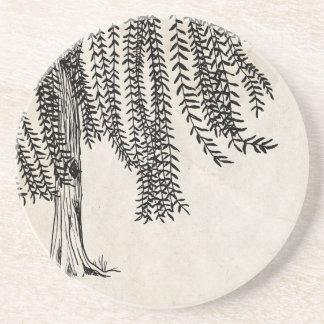 Vintage Black Weeping Willow Tree Drink Coaster