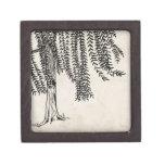 Vintage Black Weeping Willow Tree Jewelry Box