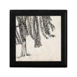 Vintage Black Weeping Willow Tree Keepsake Box