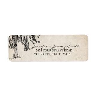 Vintage Black Weeping Willow Tree Label