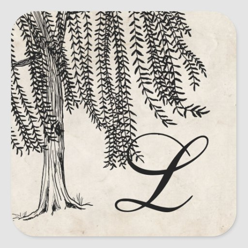 Vintage Black Weeping Willow Tree Monogram Square Sticker