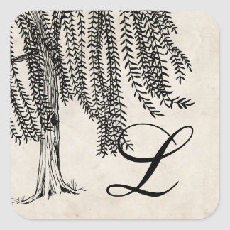 Vintage Black Weeping Willow Tree Monogram Sticker