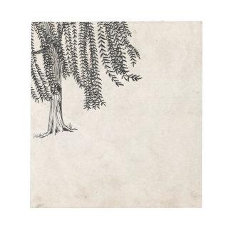 Vintage Black Weeping Willow Tree Note Pad