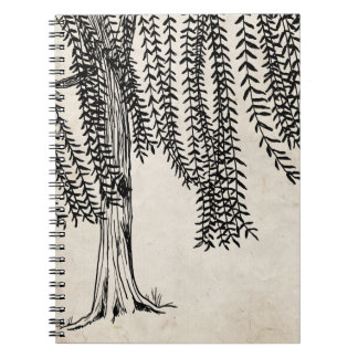 Vintage Black Weeping Willow Tree Notebook