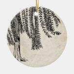 Vintage Black Weeping Willow Tree Christmas Tree Ornament