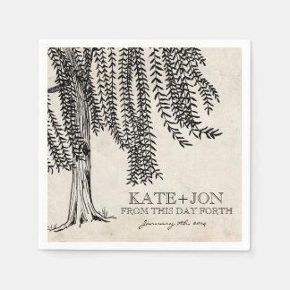 Vintage Black Weeping Willow Tree Paper Napkin