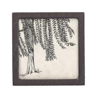Vintage Black Weeping Willow Tree Premium Keepsake Box