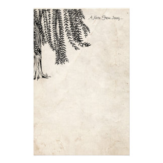 Vintage Black Weeping Willow Tree Stationery