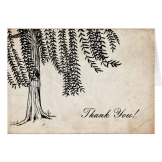 Vintage Black Weeping Willow Tree Thank You Card