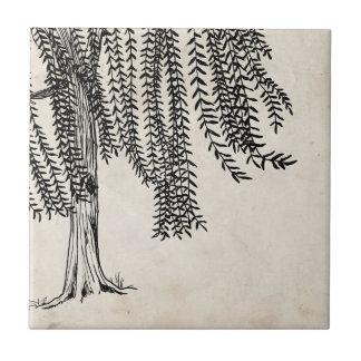Vintage Black Weeping Willow Tree Tile