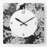 Vintage black, white and grey flowers and birds square wallclock
