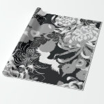 Vintage black, white and grey flowers and birds gift wrap paper
