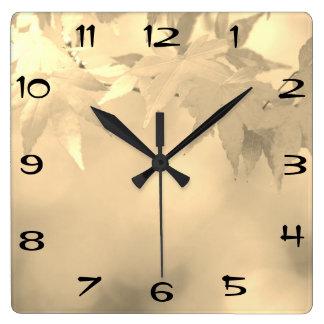 Vintage Black White Autumn Maple Leaf Square Wall Clock
