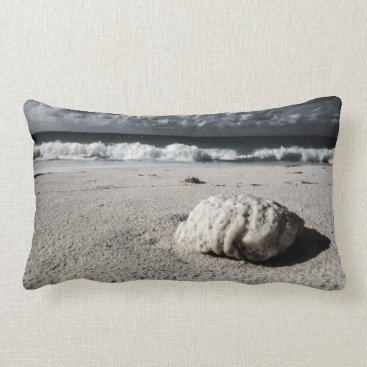 Beach Themed Vintage Black&White Beach Close-Up Lumbar Pillow
