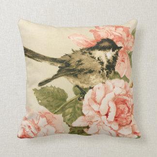 Vintage black white bird blush pink roses flowers throw pillow