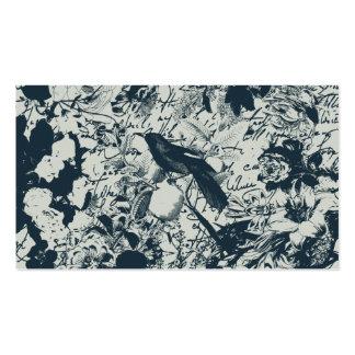 Vintage Black & White Bird Floral and Script Print Business Card