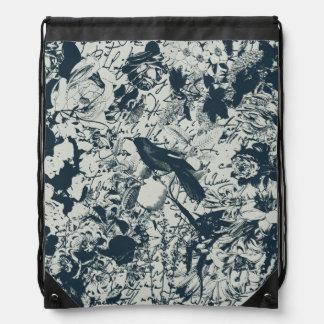 Vintage Black & White Bird Floral and Script Print Drawstring Backpack