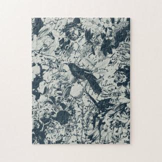 Vintage Black & White Bird Floral and Script Print Puzzles