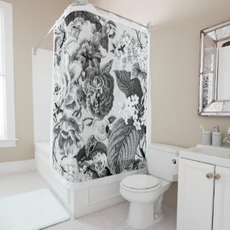 Vintage Black And White Shower Curtains   Zazzle