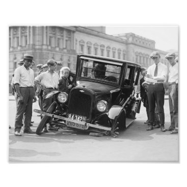 USA Themed Vintage Black & White Broken Car Wreck USA 1923 Photo Print