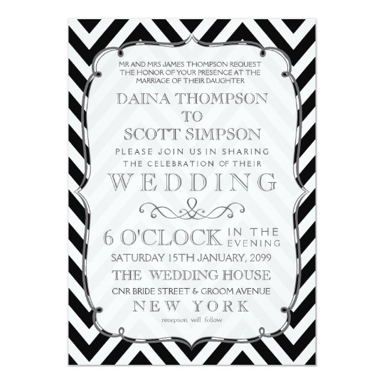 Vintage Black & White Chevron Wedding Invite