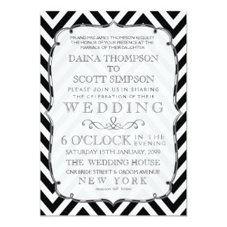 "Vintage Black & White Chevron Wedding Invite 5"" X 7"" Invitation Card"