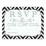 Vintage Black & White Chevron Wedding RSVP Cards Announcement