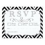 Vintage Black & White Chevron Wedding RSVP Cards Personalized Announcements