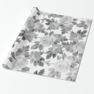 Vintage black white chic roses floral pattern wrapping paper