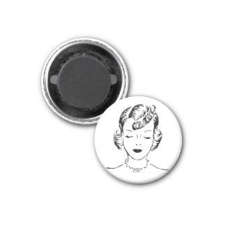 Vintage Black & White Comic Woman Fridge Magnets