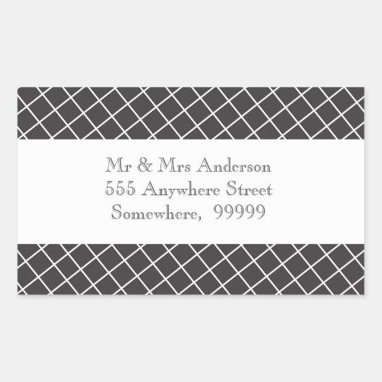 Vintage Black & White Cross Hatch Address Stickers
