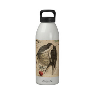 Vintage Black White Cute Love Birds Painting Drinking Bottles