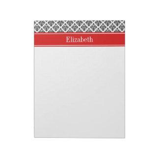 Vintage Black White Damask #3 Red Name Monogram Notepad