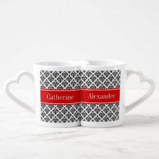 Vintage Black White Damask #3 Red Name Monogram Couple Mugs