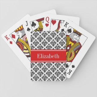 Vintage Black White Damask #3 Red Name Monogram Playing Cards