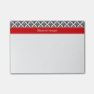 Vintage Black White Damask #3 Red Name Monogram Post-it Notes