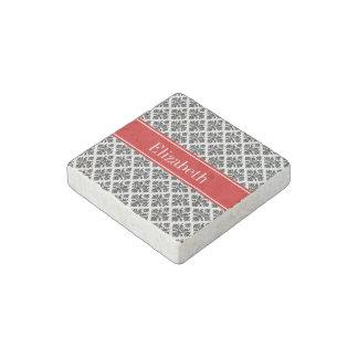 Vintage Black White Damask #3 Red Name Monogram Stone Magnet