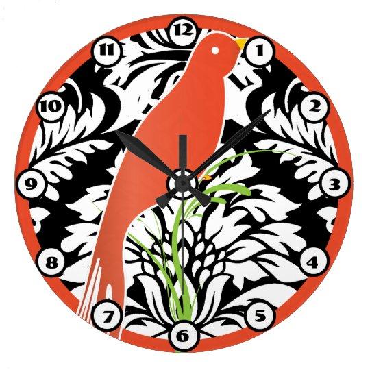 Vintage Black White Damask Tangerine Bird Clock