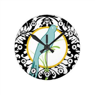 Vintage Black White Damask Teal Yellow Bird Clock