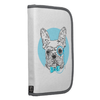 Vintage Black White Dog Drawing Blue Funny Glasses Folio Planners