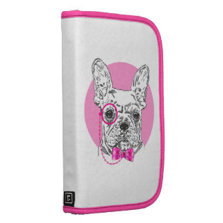 Vintage Black White Dog Drawing Pink Funny Glasses Folio Planners