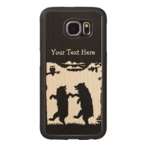 Vintage Black White Drawing Two Dancing Bears Wood Phone Case