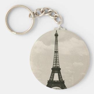 Vintage Black & White Eiffel Tower Keychain