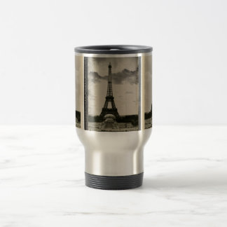 Vintage Black & White Eiffel Tower Travel Mug
