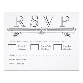 Vintage Black & White Elegant Wedding RSVP Cards