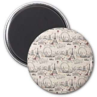 Vintage Black & White Europe Images 2 Inch Round Magnet